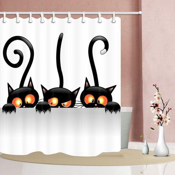 Three long-tailed kittens print bath shower curtain Durable Fabric Mildew Bathroom Accessories Creative with 12 Hooks 180X180CM
