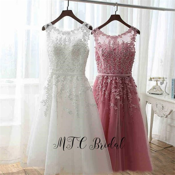 Wholesale Short Prom Dresses Gorgeous Beaded Appliques Backless Tulle Wedding Party Dress 2019 Hot Selling Women Gowns Cheap