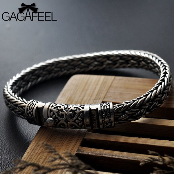 Gagafeel 100% 925 Silver Bracelets Width 8mm Classic Wire-cable Link Chain S925 Thai Silver Bracelets For Women Men Jewelry Gift J190625
