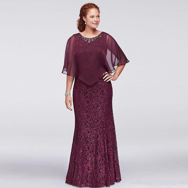 2019 Burgandy Mother Of Bride Dresses Jewel Lace Sequined Wedding Guest Dresses With Wrap Floor Length Evening Gowns