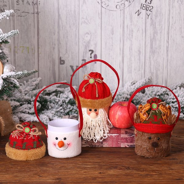 Christmas Handheld Apple Bags Candy Gift Bags Christmas Holiday Party Decoration For New Year Santa Claus Gift Bag
