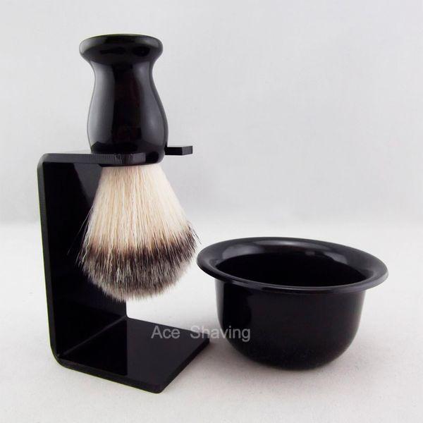 Black Resin Handle Nylon Hair Shaving Brush Acrylic Stand Holder & Bowl Cup Mug Set