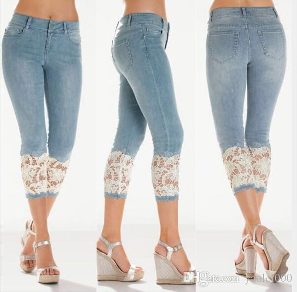 Europe and the United States summer cool fashion sexy women's jeans thin section in the waist lace women's cropped trousers