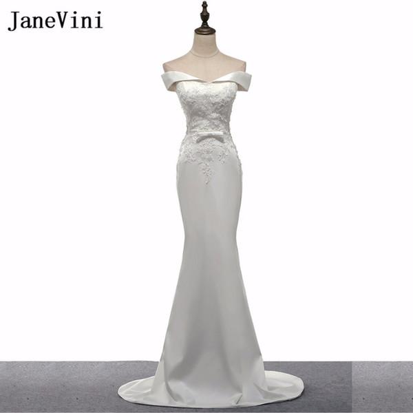JaneVini Beyaz Uzun Nedime Modelleri Sweep Tren Boncuklu Dantel Gelinlik Düğün için 2018 Mermaid Bayan Elbise