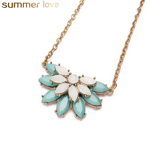 Hot Sale Resin Flower Necklace Blue Red Cute Charm Gem Flower Choker Necklaces & Pendants Fashion Jewelry For Woman Gift