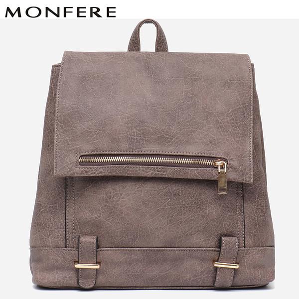 MONFERE Women Pu Leather Backpack Fashion England Style Large Girl Daily School bag Knapsack Casual Flap Zip Pocket Shoulder Bag
