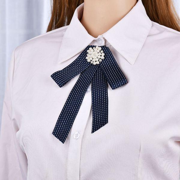 New Fashion Rhinestone Flowers Long Ribbon Big Bowknot Shirt's Bow Tie Pins Collar Accessories Fashion Jewelry b364