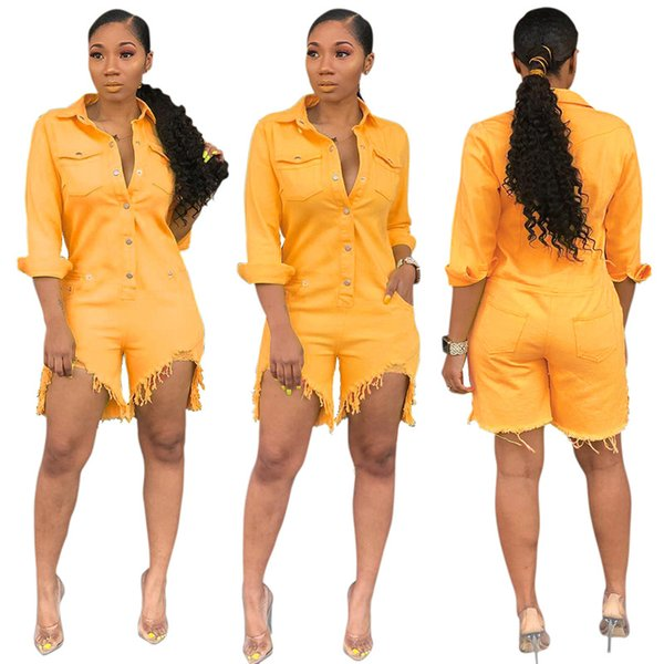 top popular Casual Denim Jumpsuits Women's Turn Down Collar Long Sleeve Bodycon Playsuit Streetwear Buttons Up yellow overall Rompers XL XXL 2019