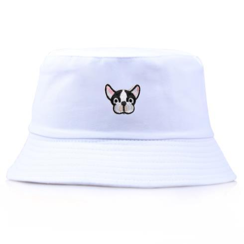 2019 new hot wild wholesale Korean cute puppy embroidery fisherman hat spring and summer pot cap outdoor travel shade beach