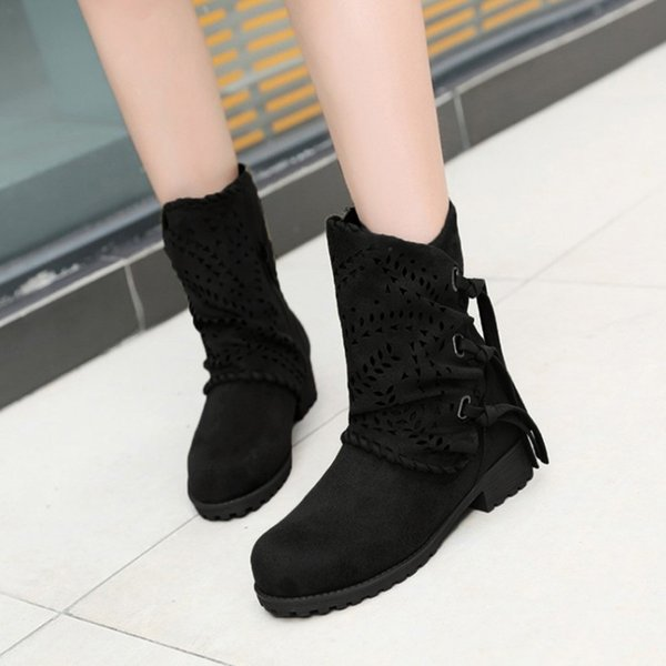 MUQGEW Round Toe Women Fashion Hollow Out Bandage Suede Boots Ladies Low Heel Flock Shoes Newest Boots #1127