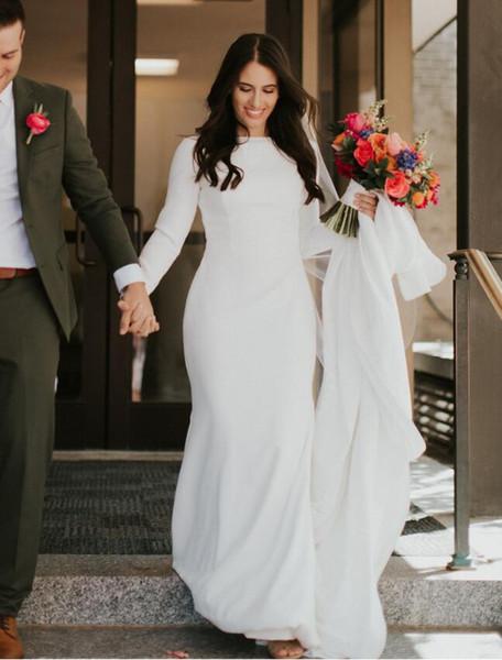 2019 Einfache Krepp Meerjungfrau Modest Brautkleider Mit Langen Ärmeln Elegante Country Western Frauen LDS Modest Brautkleider Nach Maß