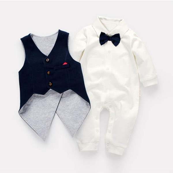 baby boy clothes swallow-tailed coat vest+baby romper 2pcs Newborn Romper Infant Outfits boys One Piece Clothing Boy Rompers Jumpsuit