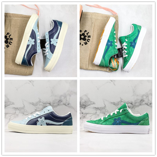 Criador x One Star Ox Golf Le Fleur TTC Jolly Hip Hop Sneaker instrutor das sapatas de lona Estrela 1970 verde da camurça azul Skate Shoes