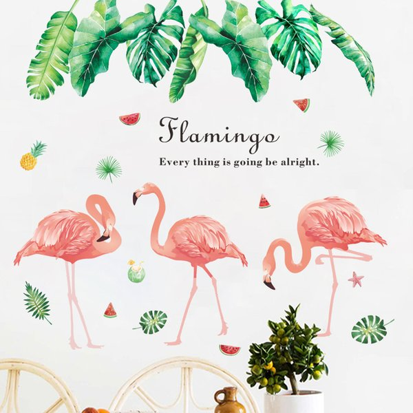 Flamingo Birds Wall Sticker Summer Tropical Green Leaves Pineapple Wall Stickers Decal For Baby Kids Bedroom Home Decoration