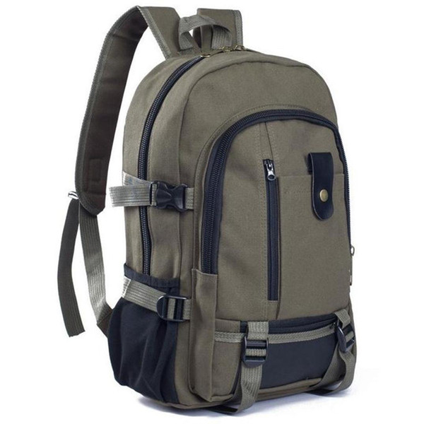 Men Casual Travel Canvas Leather Backpack Sport School Hiking Bag