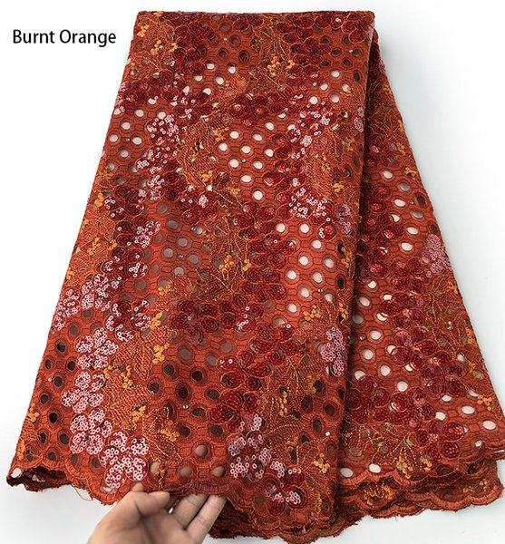 Burnt Orange 5 yards shiny handcut french lace with embroidery big holes African tulle fabric unique evening sewing gown dress