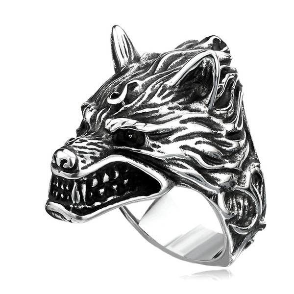 classic mens ring fashion punk style stainless steel werewolf ring accessories jewelry for male party gift