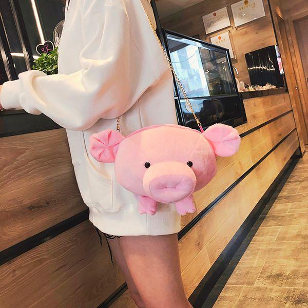 Funny small bag tide cute plush pig shape shoulder bag Cute girl's gift Casual Tote Dropshipping Borsa a tracolla#40