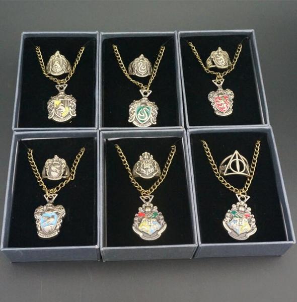 Harri Potter badge bague collier baguette magique Harri Potter badge du Collège de magie bague en alliage pendentif collier LJJK1358