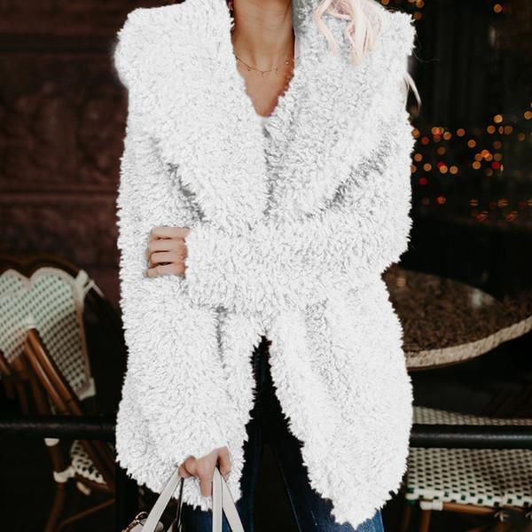 Womens Winter Fleece Furry Long Coat Women Wool Blends Outerwear Warm Outerwear Female Lapel Jacket Casual Loose Overcoat #711