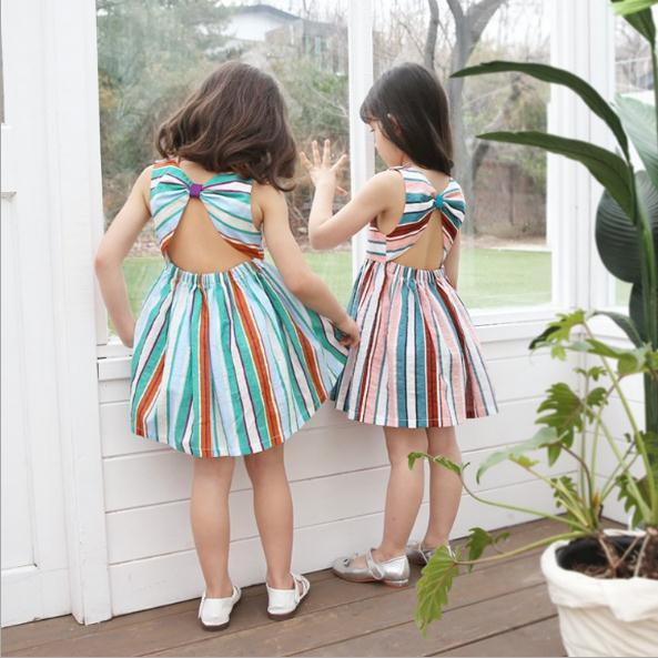 Vieeoease Girls Dress Stripe Kids Clothing 2019 Summer Fashion Sleeveless Vest Backless Bow Princess Party Dress CC-429
