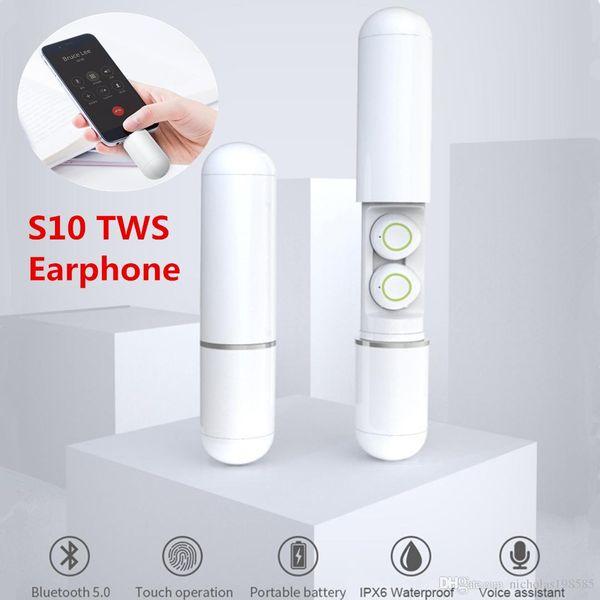 S10 Pille Modell Bluetooth 5.0 Mini Wireless Touch Kopfhörer Unterstützung Siri Mic Stereo Sound Bass Musik Headset TWS Sport Wasserdichte Ohrhörer