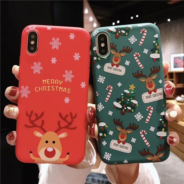 Telefone de natal caso bonito papai noel animal árvore tpu capa protetora presente à prova de choque à prova de choque para iphone x xs xr xs max sca547
