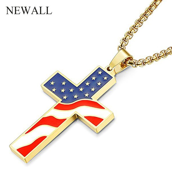 Newall USA Flag Gold Cross Pendant necklace Stainless Steel American drop oil Jesus Religion Jewelry Amulet Christian Necklaces
