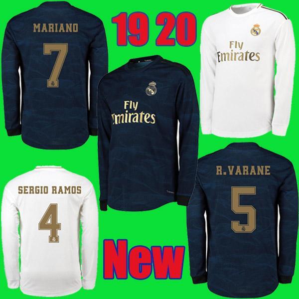 2019 2020 Real Madrid local Camiseta de fútbol de manga larga ausente 19 20 BENZEMA ISCO BALE ASENSIO MODRIC tercera camiseta de fútbol de la Liga de Campeones