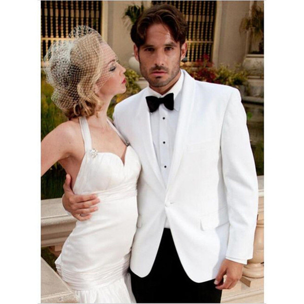 White Jacket+Black Pant+Bow tie 3Pieces costume homme 2019 Shawl Collar wedding suits for men One Button groom Mens Suits tuxedo