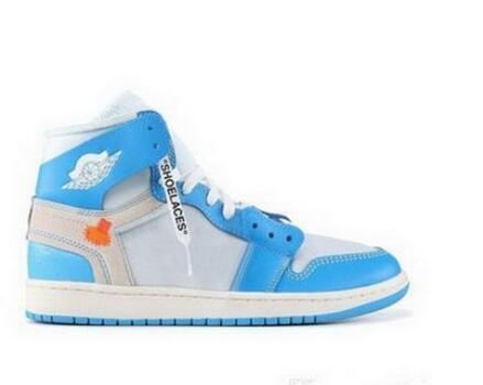 Off UNC Basketball Chaussure Sneakers cône bleu poudre blanche foncé Chaussures de sport Université Bleu 2019 gratuit Shippment S01