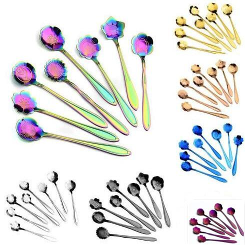 best selling 7 colors flower mixing spoon Stainless steel colorful flower coffee spoon 8 kinds of flower shape tea spoon