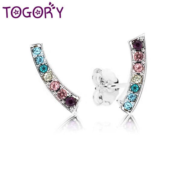 TOGORY Sommer Stil Europäischen Silber Farbe Ohrring Dazzling Rainbow Push-Back Feine Ohrstecker für Frauen Kinder Schmuck Geschenk