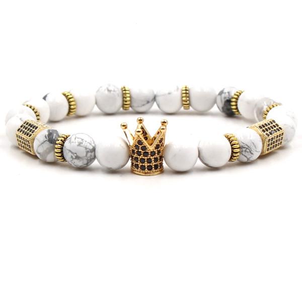 Newly 40 Styles 8mm Natural Stone Bracelet Turquoise Luxury Designer Jewelry Women Bracelects Rose Quartz Cubic Zirconia Crown Bracelet Gift