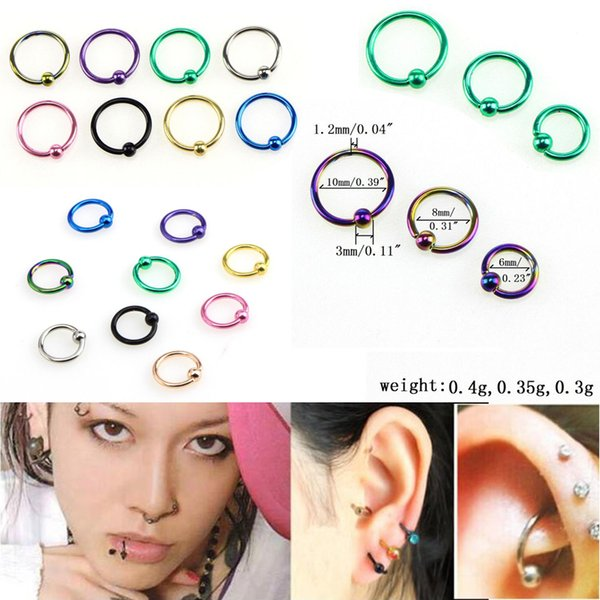 8 Pieces Stainless Steel Nose Stud Ring Hoop Body Lip Ear Piercing Jewelry
