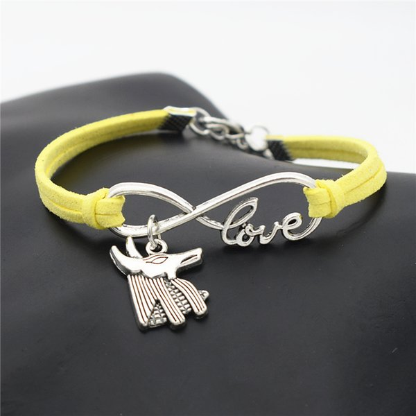 Simple Infinity Love Egypt Patron Horse Anubis Animal Wolf Head Pendant Charm Bracelet for Women Men Yellow Leather Suede Jewelry Gift