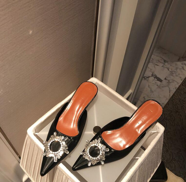 2019 Nouveau Femmes moitié attente embelli Crystal-Luxury qualité Pvc Slingback Pompes Chaussures de mode Transparent Sandales
