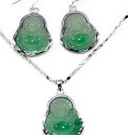 gioielli SPEDIZIONE GRATUITA Luce Verde Giada Ridere Buddha Amulet WGP Gancio Orecchini Collana Pendente S