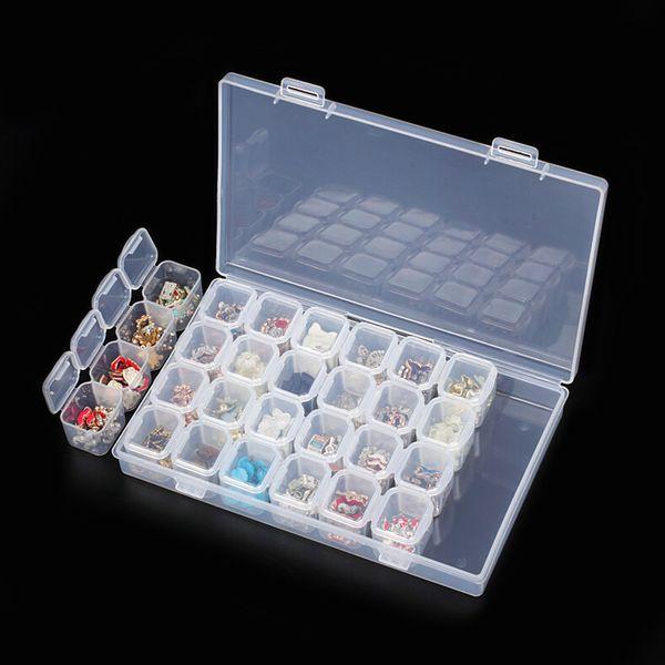 28 Slots Nail Art Storage Box Plastic Transparent Display Case Organizer Holder For Rhinestone Beads Ring Earrings @ME8