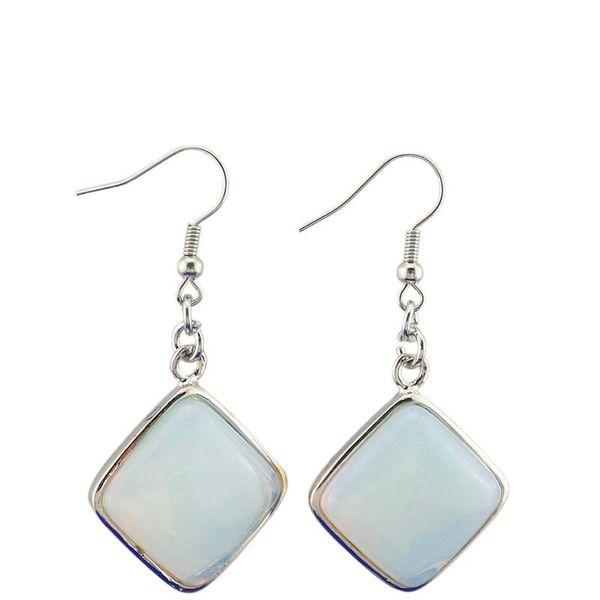 Sıcak Uphot Luckyshine 2 Parçalar / Lot Pembe Mavi Yeşil Beyaz Doğal Kristal Küpe Kare Moda Kadınlar Vintage Stil Dangle Küpe