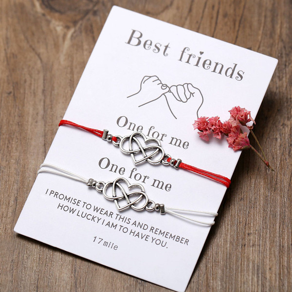 2pcs/set Best friends Love Infinity Bracelet Red String Braiding Couple Bracelets for Men Women Wish Jewelry