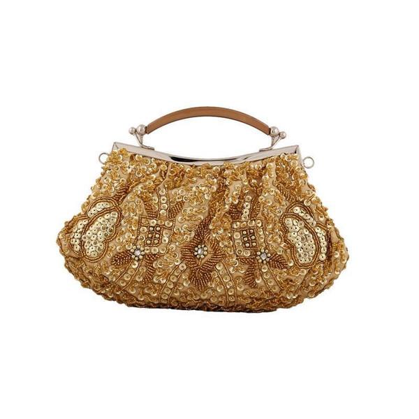 Women Beads Sequins Evening Bags Wedding Party Tote Hand Bag Handmade Beaded Shoulder Bag Handbag Handbags Organizer Lady Totes