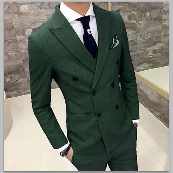 2018 Green double breasted tuxedos Summer jacket Slim fit classic blazer jackets Smart casual Men suits for prom dress 3 pieces
