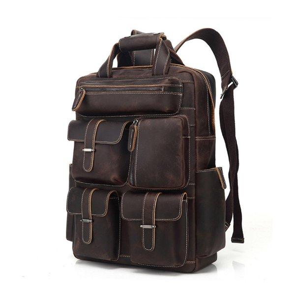 أعلى جودة بيع الجلود حقيبة الظهر أكثر جيب مصمم حقائب اليد المحمولة حقائب السفر جلد طبيعي
