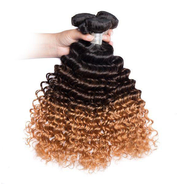 1B Atacado 4 27 Ombre 3 Pacotes Hair Color onda encaracolado tece brasileira peruanas mongol Humano Curly virgem do cabelo tramas