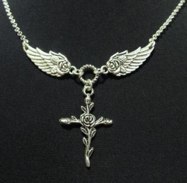 Vintage Silver Rose Angel Wings Cross Necklace Pendants Charms Collar Statement Choker Necklaces Women Jewelry DIY Gifts Gorgeous HOT