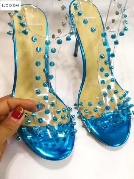 2019 fashion women gladiator sandals thin heel party shoes ladies wedding shoe summer PVC sandals spike stud high heels rivets pumps