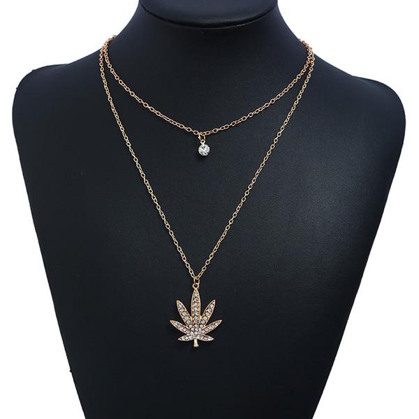 Vintage Rhinestone Maple Leaf Kolye Kolye Ayarlanabilir Uzun Kazak Zincir Kolye Moda Takı Kostüm Dekorasyon