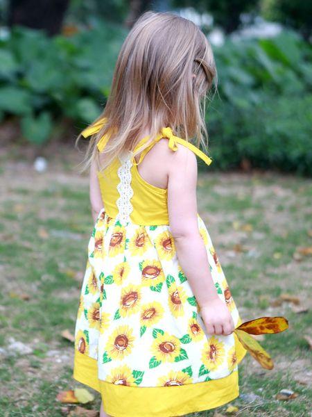 Little Gilrs Sunflower Print Braces Dresses Summer 2019 Kids Boutique Clothing Korean 1-5T Little Girls Lace Sleeveless Flower Sundress