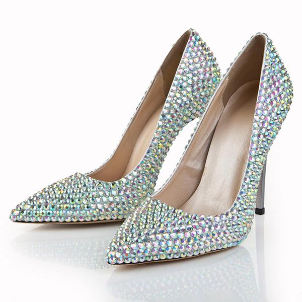 Multi-couleur strass cristal bout pointu chaussures de soirée de soirée formelle talon aiguille pompes talons chaussures soirée de bal de mariage chaussures de mariée